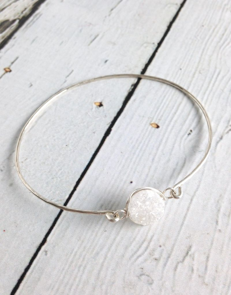 Glimmer Bangle Bracelet with White Druzy