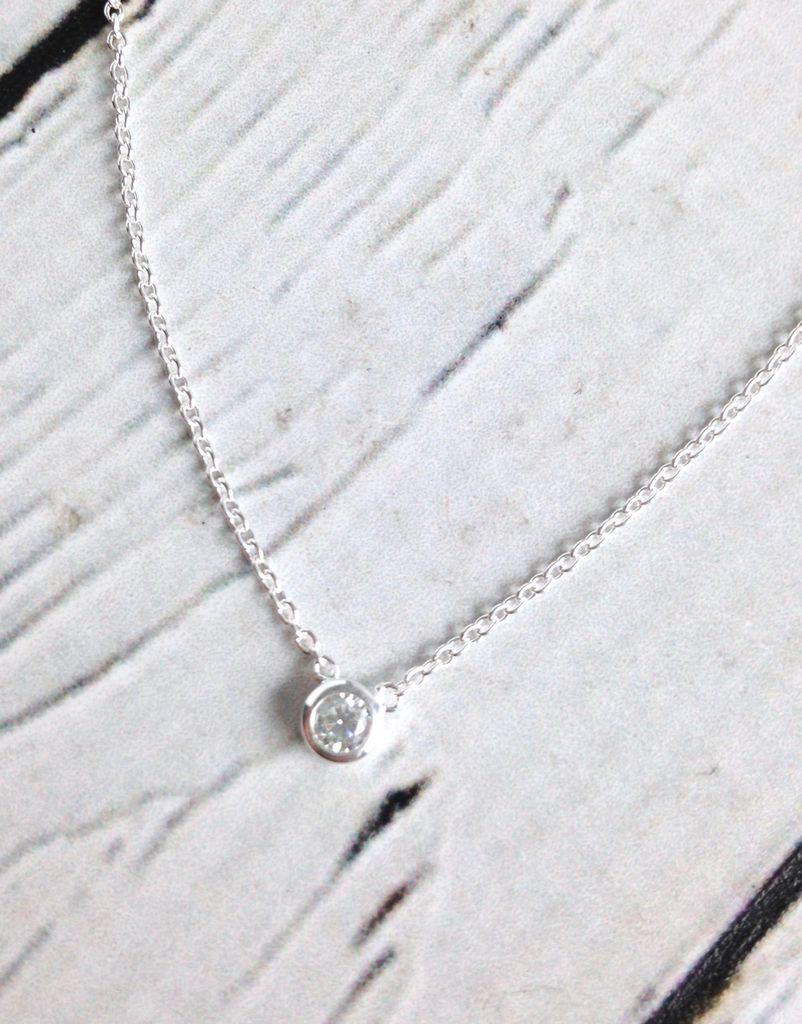 Sterling Silver CZ Solitaire Necklace