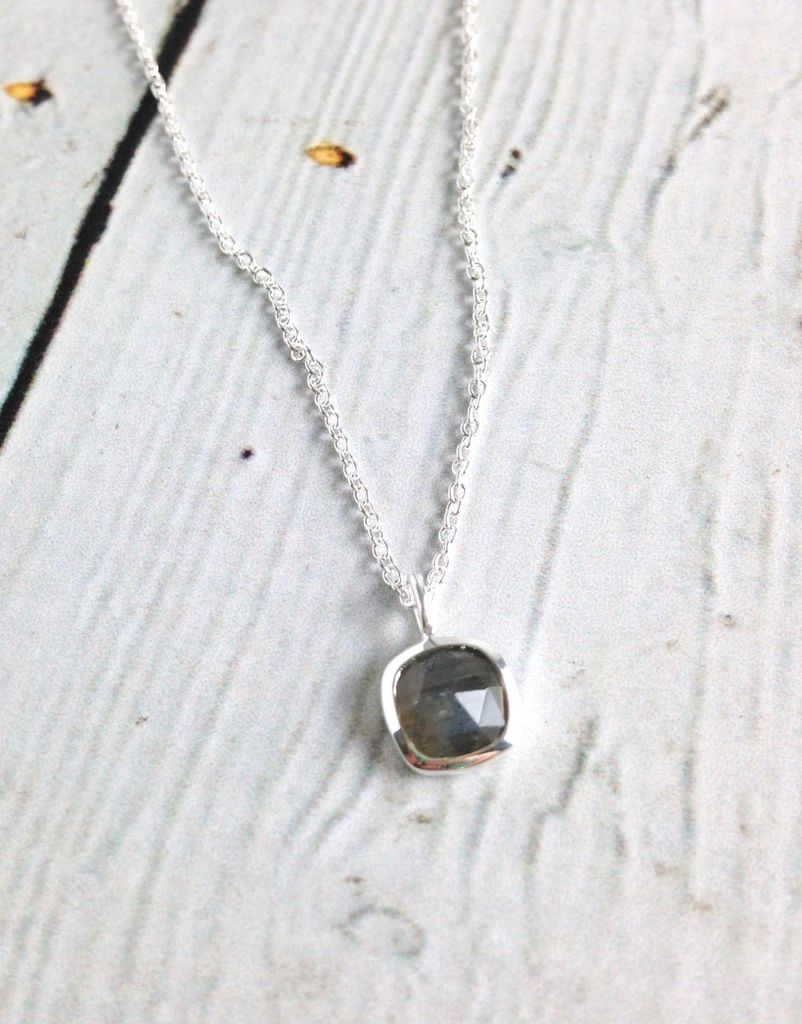 Sterling Silver Rose-cut Labradorite Cushion Necklace