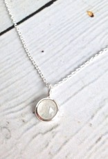 Sterling Silver Rose-cut Rainbow Moonstone Round Necklace