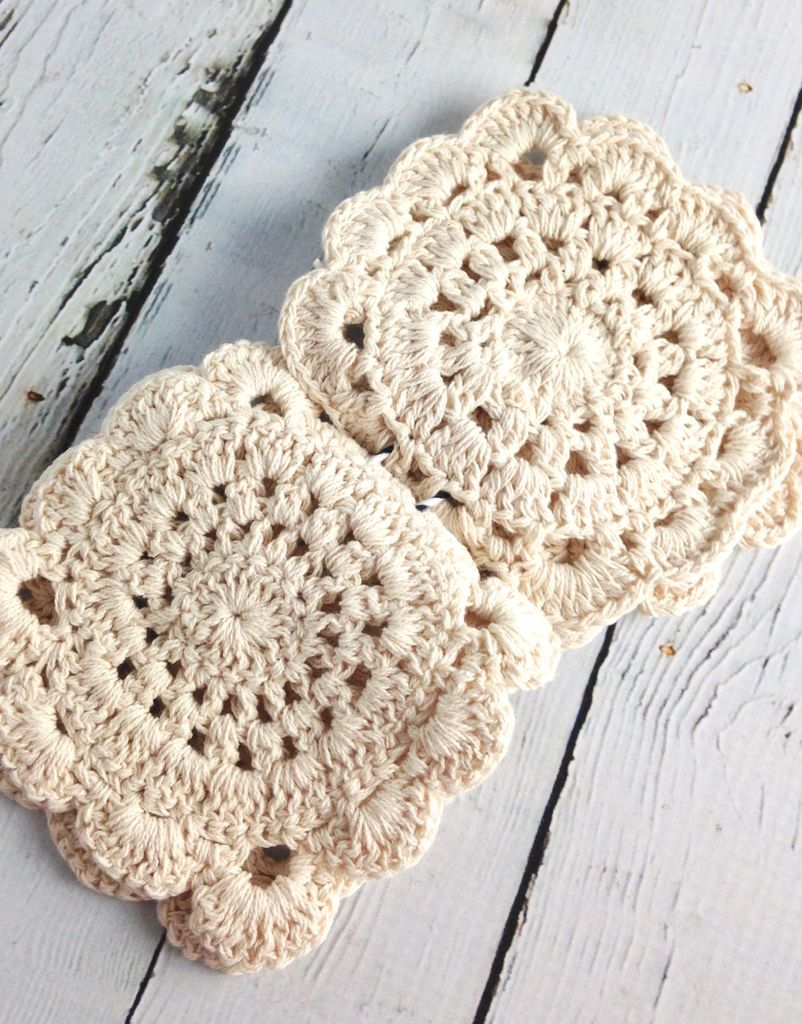 Natural Crochet Coasters Set of 4