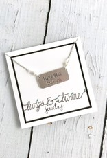 Handstamped Mama Bear with One Cub and Fresh Water Pearls Necklace