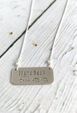 Handstamped Mama Bear with Two Cubs and Fresh Water Pearls Necklace