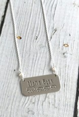 Handstamped Mama Bear with Three Cubs and Fresh Water Pearls Necklace