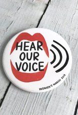 2018 Hear Our Voice Women's March pin by Penelope Dullaghan and Pincause.  $2 is Donated to Planned Parenthood for every pin sold