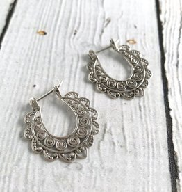 Sterling Silver Oxidized Scroll Circles Hinged Hoop Earrings