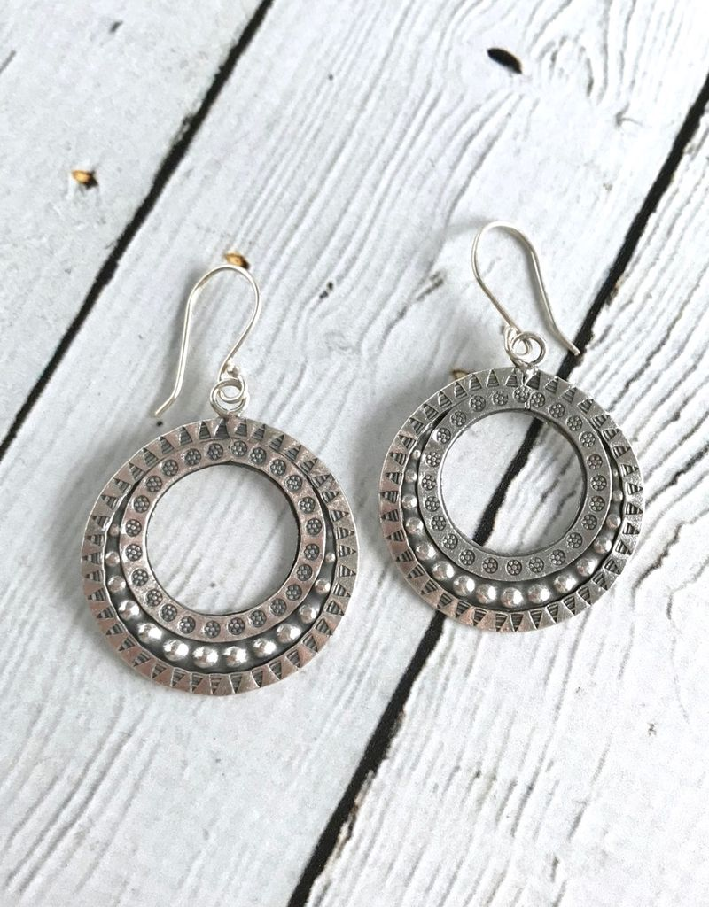Hill Tribe Silver Open Round Triangular Stamped Earrings