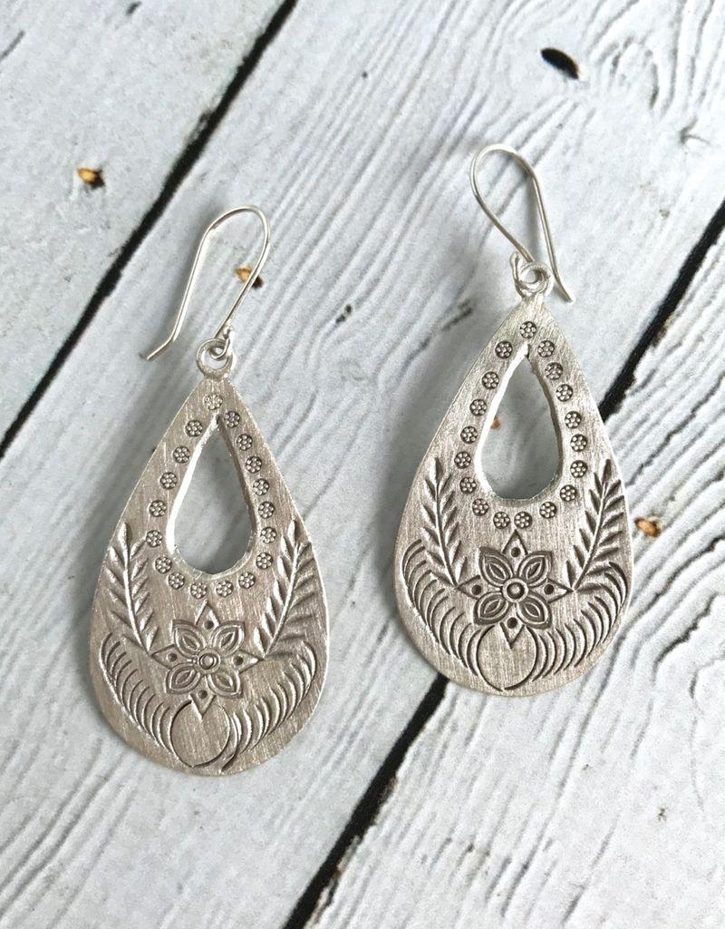 Hill Tribe Silver Large Stamped Teardrop Earrings