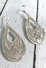 Hilltribe Silver Large Stamped Teardrop Earrings
