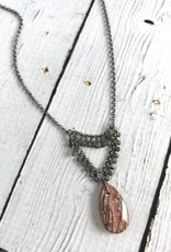 Handmade Sterling Silver Necklace with orbicular jasper briolette, grey moonstone down sides, oxidized faceted silver across top