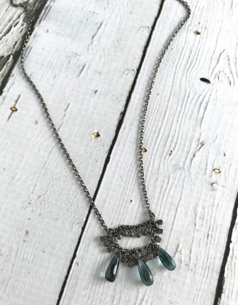 Handmade Sterling Silver Necklace with 3 london blue topaz briolettes, oxidized faceted silver v