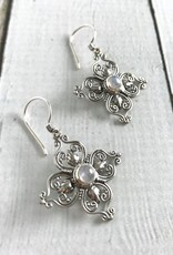 Sterling Silver Stylized Flower Earrings with Round Moonstone Center