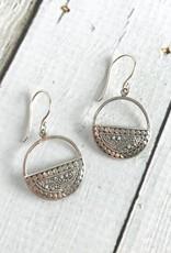 Silver Round Bottom Half Design Earrings