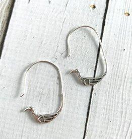 Sterling Silver Bird Hoop Earrings