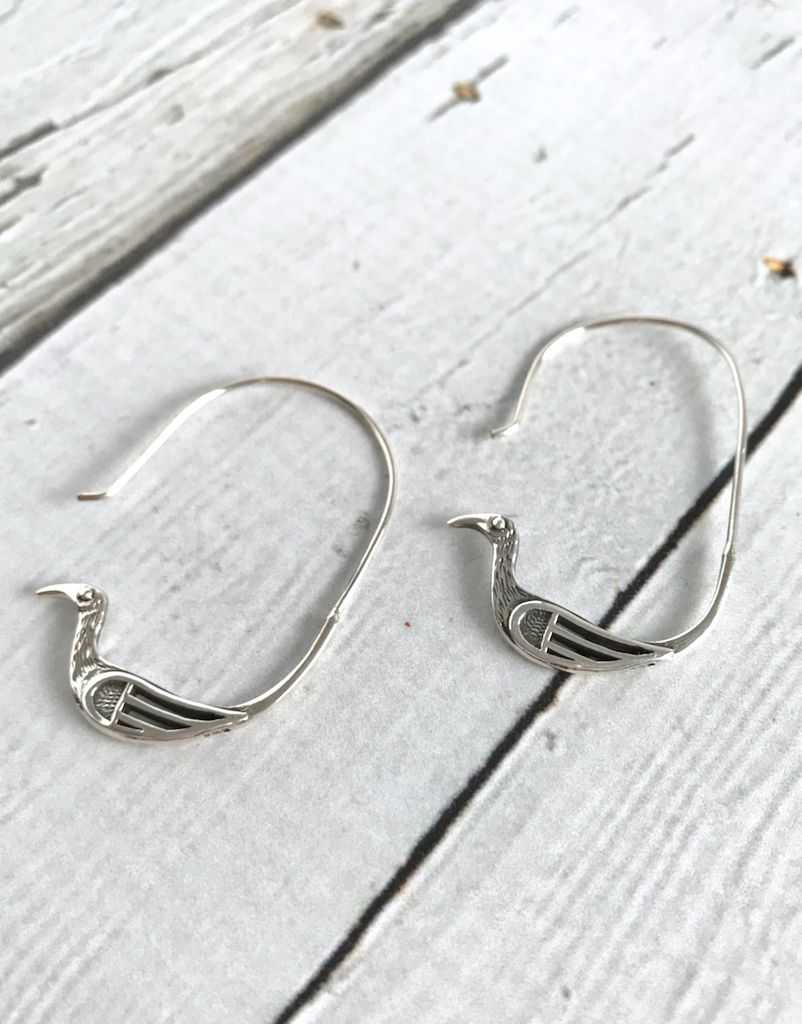 Sterling Silver Bird Hoop Earrings