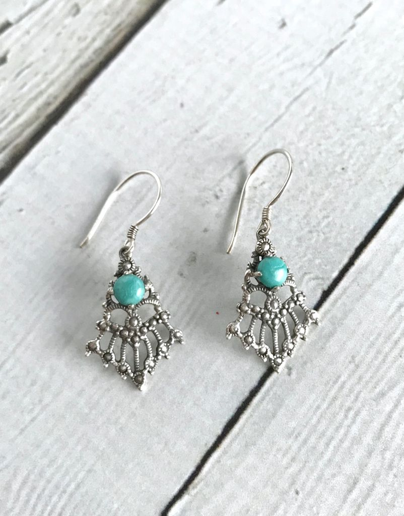 Sterling Silver Granulated Rays Earrings with Round Turquoise