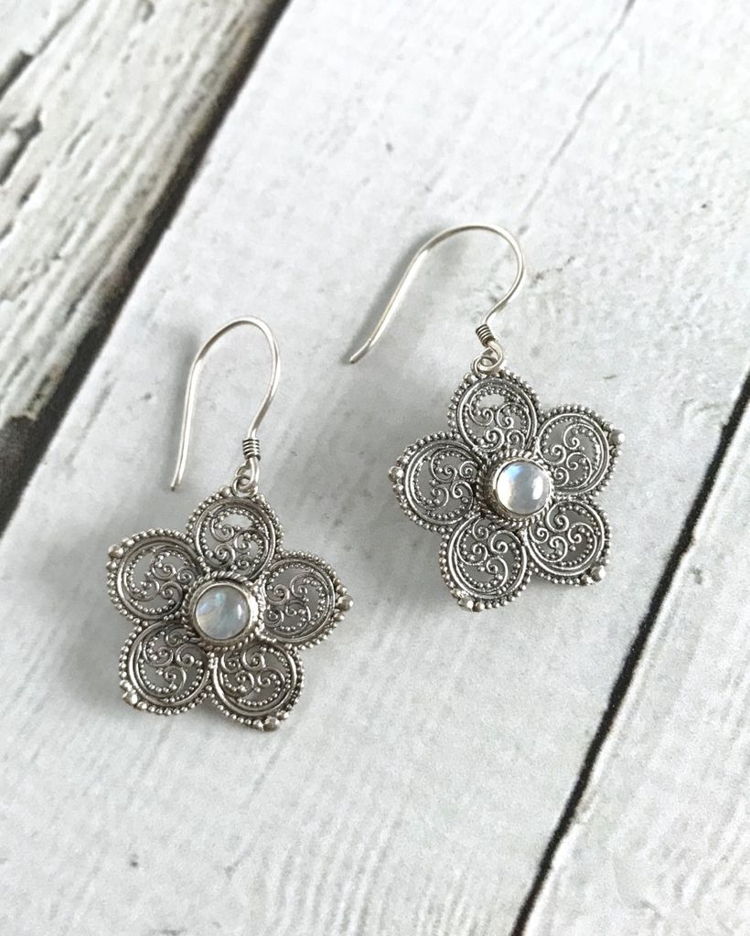 Sterling Silver Granulated Flower Earrings With Round Moonstone