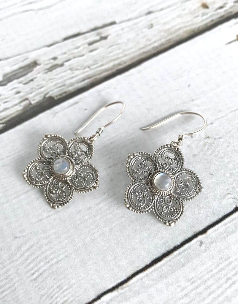 Sterling Silver Granulated Flower Earrings with Round Moonstone Center
