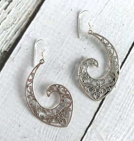 Sterling Silver Large Flowery Open Hook Earrings