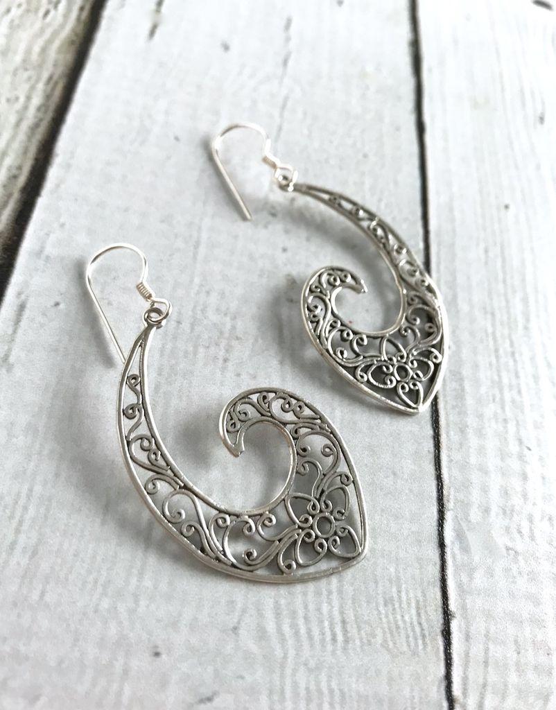 Sterling Silver Large Flowery Open Hook Earrings