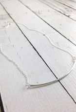 """Sterling Silver """"Bridge"""" Necklace - hammered bowed bar"""