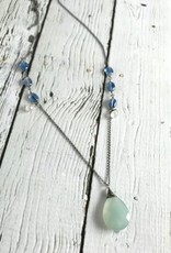 Handmade Silver Necklace with White Chalcedony, Kyanite, Moonstone