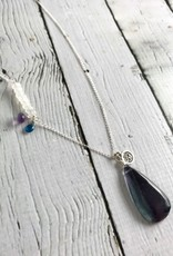 Handmade Silver Necklace with Fluorite, Moonstone, Amethyst, Apatite