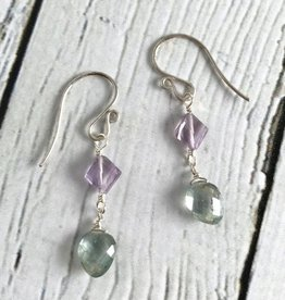 Handmade Silver Earrings with Moss Aquamarine, Pink Amethyst kites