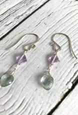 Handmade Silver Earrings with Moss Aquamarine, Pink Amethyst kites