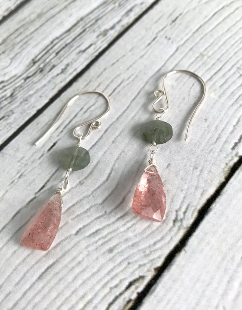 Handmade Silver Earrings with Lepidocrocite, Moss Aquamarine