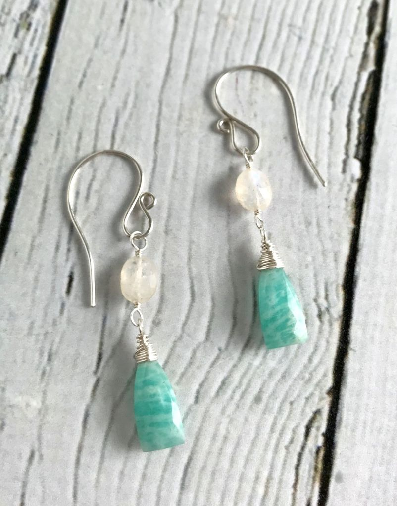Handmade Silver Earrings with Amazonite, Moonstone