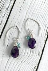 Handmade Silver Earrings with Amethyst, Apatite