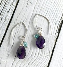 Handmade Silver Earrings with Amethyst, Apatite