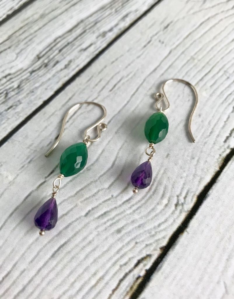 Handmade Silver Earrings with Green Onyx, Amethyst