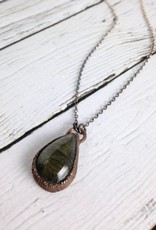 "Raw Labradorite Pendant on 24"" Oxidized Sterling Silver Satellite Chain Necklace"