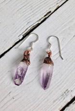 Long Electroformed Vera Cruz Amethyst Crystal and Copper Earrings