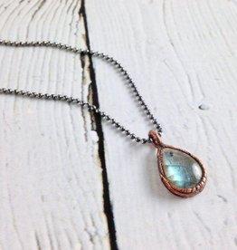 "Raw Labradorite pendant on 18"" Oxidized Silver Necklace"