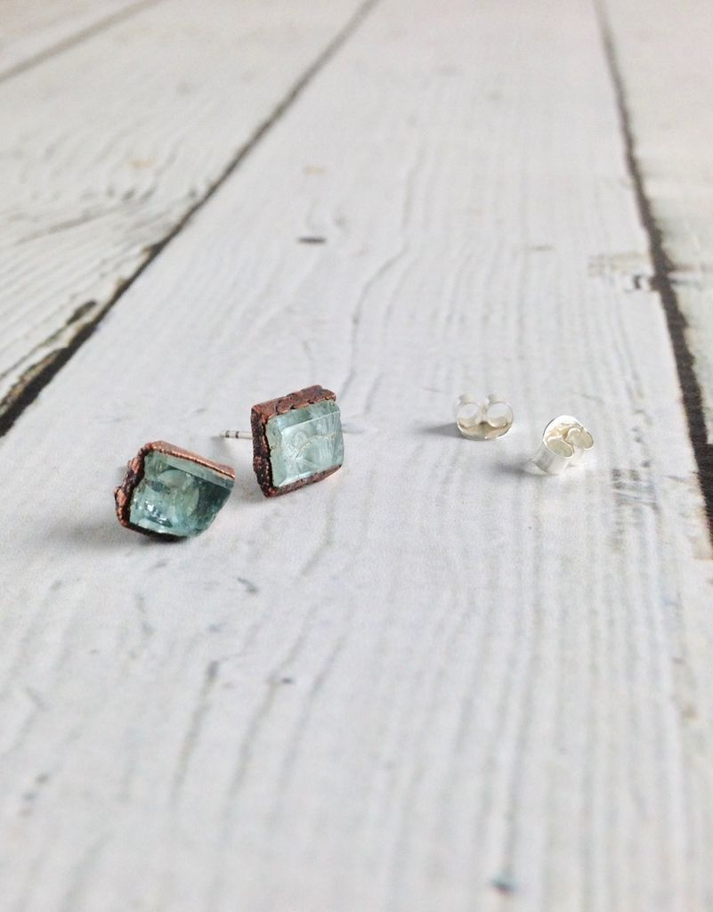 Raw Aquamarine Electroformed Stud Earrings, Copper with Sterling Posts