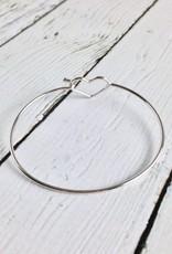 Sterling Silver Open Heart Bangle Bracelet
