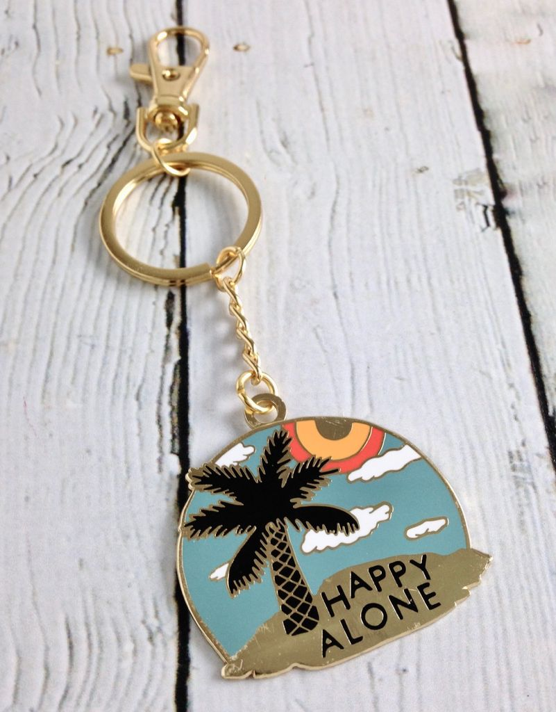 Happy Alone (Island) Keychain