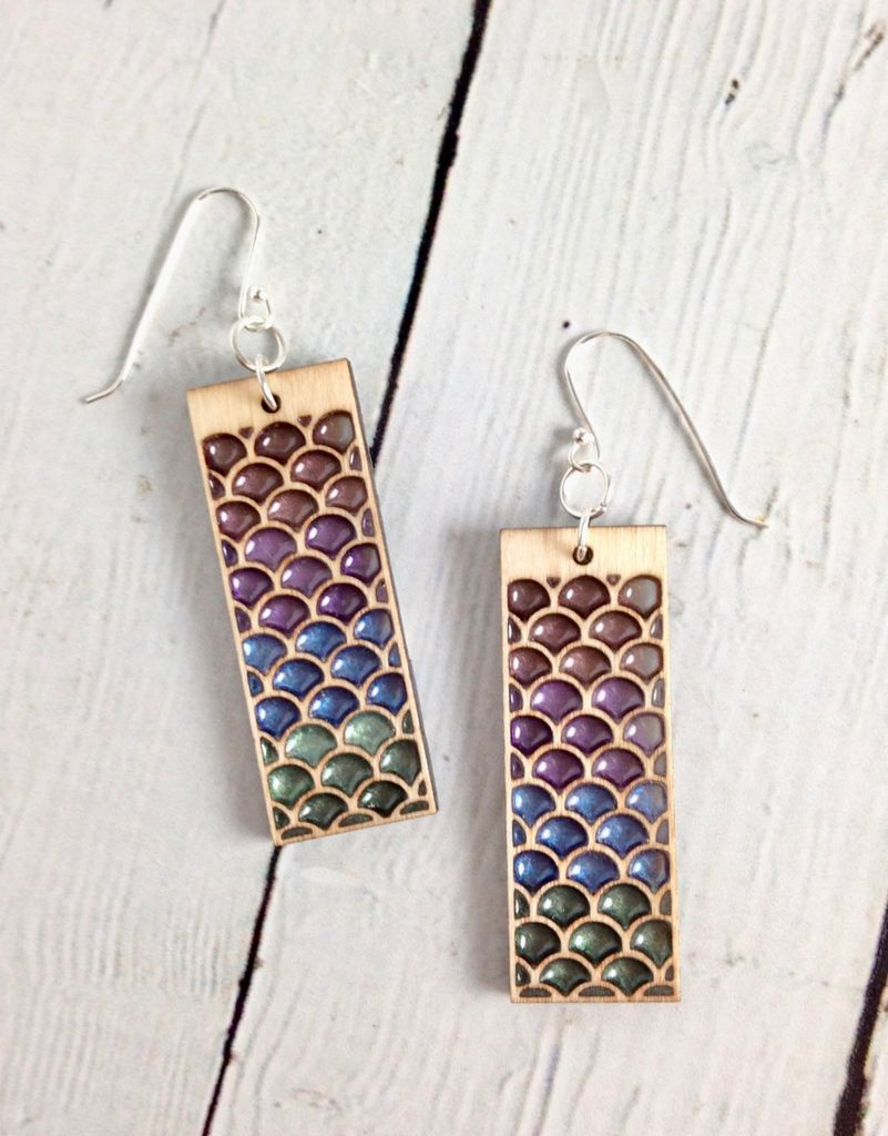 Handmade Pastel Modern Mermaid Earrings, SS wiresSustainable Hard Maple Wood, eco friendly colored resin, non-toxic wax.