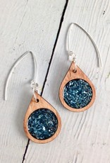 Handmade Ocean Blue Modern Raindrop Earrings, SS wires and Chunky German Glass GlitterSustainable Cherry Wood, eco friendly colored resin, non-toxic wax.