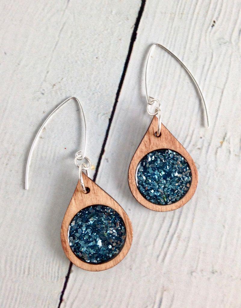 Handmade Ocean Blue Modern Raindrop Earrings