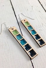 Handmade Coastal Gradient Bar Earrings, SS wiresSustainable Hard Maple Wood, eco friendly colored resin, non-toxic wax.