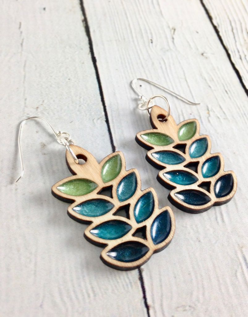 Handmade Ombre Leaf Gradient Earrings, SS wiresSustainable Hard Maple Wood, eco friendly colored resin, non-toxic wax.