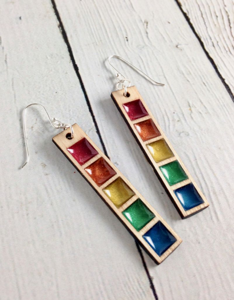Handmade Rainbow Swatch Bar Earrings, SS wiresSustainable Walnut Wood, eco friendly colored resin, non-toxic wax.
