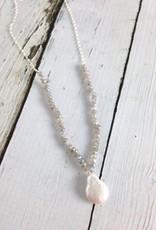 Labradorite and Baroque Pearl Drop Necklace