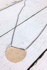 Handmade 14kt Semicircle Disc on Oxidized Chain Necklace