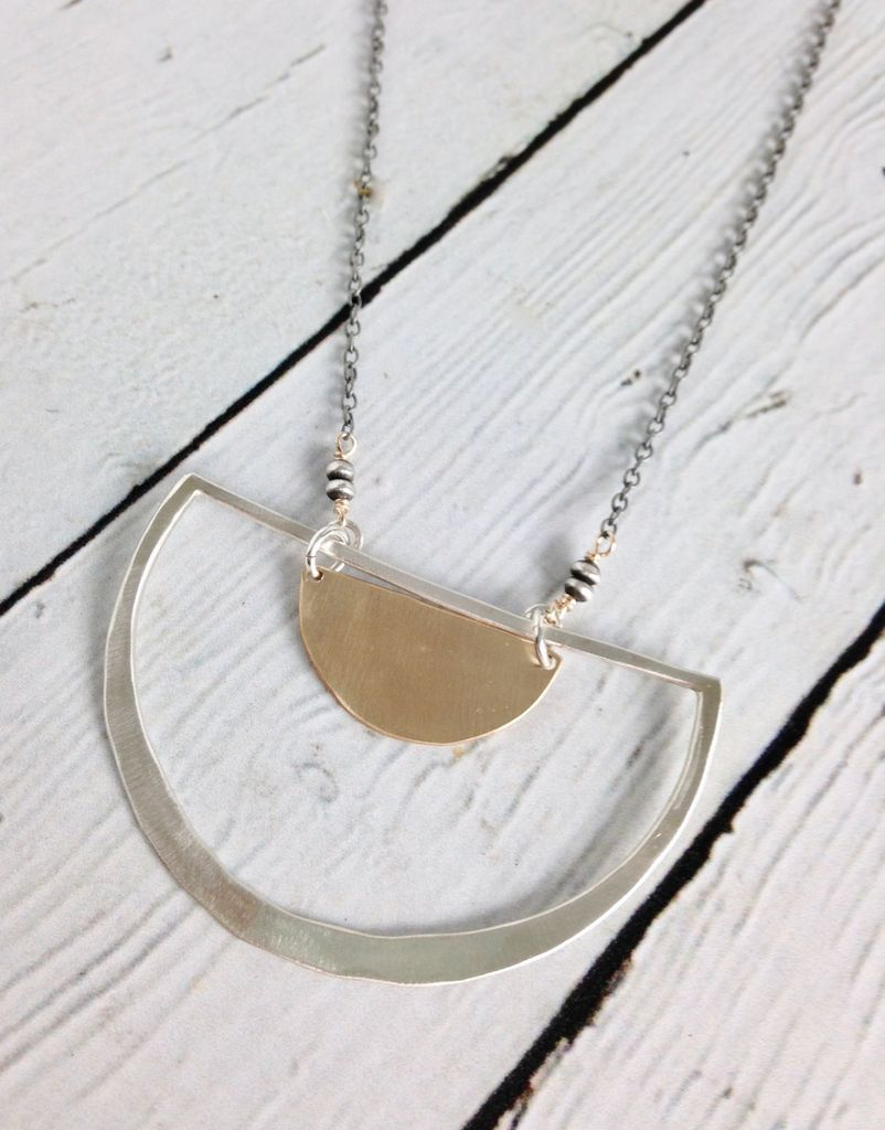 Handmade Sterling Semi Circle Pendant with 14kt Gold Filled Half Moon on Oxidized Chain