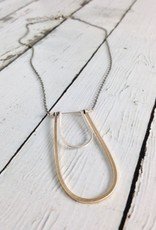 Handmade 14kt gf and Sterling Horseshoe Pendants on Oxidized Chain Necklace